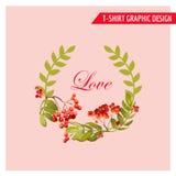 Uitstekend Autumn Floral Graphic Design - voor Kaart, T-shirt, Manier Stock Afbeeldingen