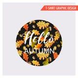 Uitstekend Autumn Floral Graphic Design - voor Kaart, T-shirt, Manier Royalty-vrije Stock Foto