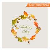 Uitstekend Autumn Floral Graphic Design - voor Kaart, T-shirt, Manier Stock Fotografie