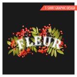 Uitstekend Autumn Floral Graphic Design - voor T-shirt, Manier Royalty-vrije Stock Afbeelding