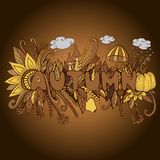 Uitstekend Autumn Word met de pompoen van Krabbelelementen, paddestoel, flo stock illustratie