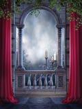 Uitstekend balkon met kaarsen royalty-vrije illustratie