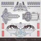 Uitstekend banner en element met hoofdletter en dier Royalty-vrije Stock Fotografie