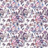 Uitstekend barok naadloos patroon met wervelingen en bloemen, vectorillustratie royalty-vrije illustratie