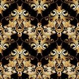 Uitstekend barok vector naadloos patroon Gouden antieke bloemen royalty-vrije illustratie
