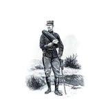 Uitstekend beeld Franse militairen van recent - Th-19 eeuw Royalty-vrije Stock Foto's