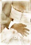Uitstekend beeld van bruids paar op geweven achtergrond Stock Afbeelding