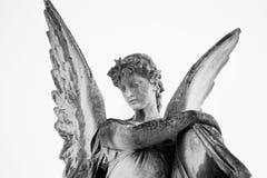 Uitstekend beeld van een droevige engel Retro gestileerd geloof, godsdienst, royalty-vrije stock afbeelding
