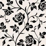 Uitstekend behang met bloeiende rozen en bladeren Floralm naadloos patroon Stock Afbeelding