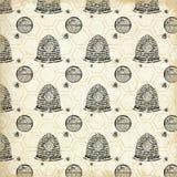Uitstekend Bijenstal Gevormd Document - Uitstekende Bijen - Bijenkoningin - Hommel - Boerderijstijl - Zwarte - Wit royalty-vrije stock foto