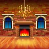 Uitstekend binnenland met houten vloer en open haard vector illustratie