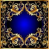 Uitstekend blauw frame met plantaardig gouden (Engels) patroon Royalty-vrije Stock Afbeelding