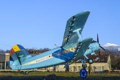 Uitstekend blauw vliegtuig Royalty-vrije Stock Foto