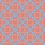 Uitstekend bloemen blauw en oranje patroon Stock Afbeelding