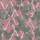 Uitstekend bloemen naadloos patroon met druivenbessen en bladeren royalty-vrije illustratie