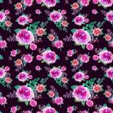 Uitstekend bloemen naadloos patroon met roze bloemen en blad Druk voor textiel eindeloos behang Hand-drawn waterverf Royalty-vrije Stock Foto