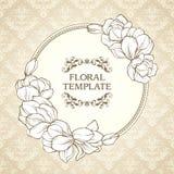 Uitstekend bloemen rond kader en gevormde achtergrond Het elegante de uitnodigingsontwerp van het bloemenhuwelijk, groetkaart, ri vector illustratie