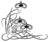 Uitstekend bloemen zwart-wit kader Vector illustratie stock illustratie