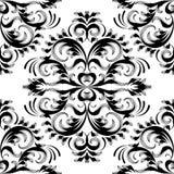 Uitstekend bloemendamast naadloos patroon Zwarte witte vector backg Stock Foto's