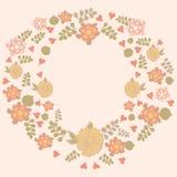 Uitstekend bloemenkader met in pastelkleuren Vector Illustratie