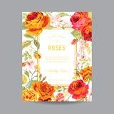 Uitstekend Bloemenkader voor Uitnodiging Royalty-vrije Stock Afbeeldingen