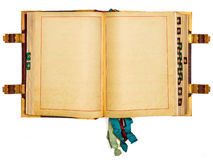 Uitstekend boek met lege pagina's die op wit worden geïsoleerde Royalty-vrije Stock Afbeeldingen