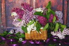Uitstekend Boeket van de zomer lilac bloemen Stock Fotografie