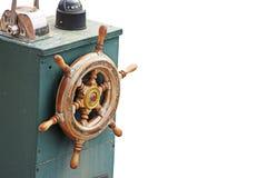 Uitstekend bootwiel op wit royalty-vrije stock afbeelding