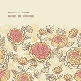 Uitstekend bruin roze bloemen horizontaal kader Royalty-vrije Stock Afbeelding