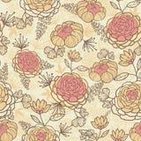 Uitstekend bruin roze bloemen naadloos patroon Stock Afbeeldingen