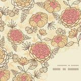 Uitstekend bruin roze de hoekpatroon van het bloemenkader Royalty-vrije Stock Fotografie