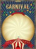 Uitstekend Carnaval Het malplaatje van de circusaffiche Vector illustratie Feestelijke achtergrond Stock Foto's