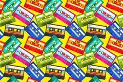 Uitstekend cassettespatroon Correcte band van de popmuziek retro jaren '80, oude school stereotechnologie, de mengelingsband van  vector illustratie