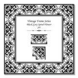 Uitstekend 3D kader 297 Zwart Grey Spiral Flower Royalty-vrije Stock Foto's