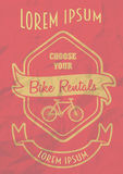 Uitstekend de afficheontwerp van de fietsenhuur Stock Foto's