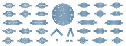 Uitstekend de etiketten vectorontwerp van de luxe zacht blauw premie Royalty-vrije Stock Foto