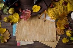 Uitstekend de herfstkader met gele, rode bladeren Stock Fotografie
