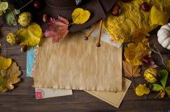 Uitstekend de herfstkader met gele, rode bladeren Royalty-vrije Stock Fotografie