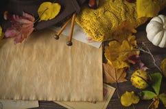 Uitstekend de herfstkader met gele, rode bladeren Stock Foto