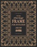 Uitstekend de kaart vectormalplaatje van de ornamentgroet Retro huwelijksuitnodigingen Stock Afbeeldingen