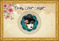 Uitstekend Derby Hat Night Background Royalty-vrije Stock Afbeelding