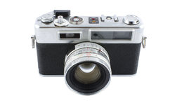 Uitstekend die en retro camera vooraanzicht in wit wordt geïsoleerd Royalty-vrije Stock Foto