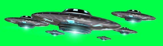 Uitstekend die UFO bij het groene 3D teruggeven wordt geïsoleerd als achtergrond vector illustratie