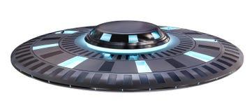Uitstekend die UFO bij het witte 3D teruggeven wordt geïsoleerd als achtergrond Stock Foto's