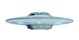 Uitstekend die UFO bij het witte 3D teruggeven wordt geïsoleerd als achtergrond Stock Foto