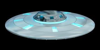 Uitstekend die UFO bij het zwarte 3D teruggeven wordt geïsoleerd als achtergrond Royalty-vrije Stock Fotografie