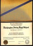 Uitstekend Diploma van het middelbaar onderwijs Stock Foto