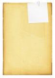 Uitstekend document met klem en nota. Stock Afbeeldingen