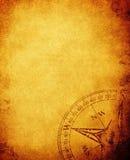 Uitstekend document met kompas Stock Foto's