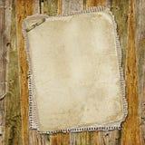 Uitstekend document op oude houten textuur stock illustratie